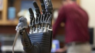 a prosthetic hand shown with e-dermis on its fingertips.