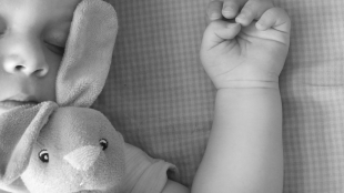 a child seen sleeping with a stuffed toy