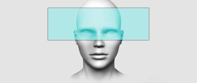 a graphic showing a teal colored transparent box around a face covering forehead and eyes.