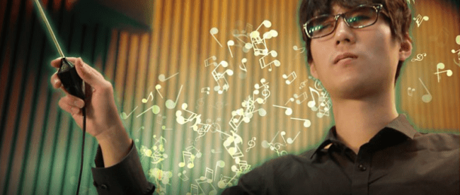 kyungho jeon, a blind virtuoso percussionist, seen handling the haptic baton