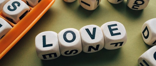 the word love assembled in boggle pieces.