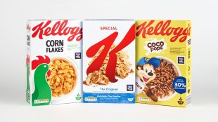3 boxes of Kellogg's cereal seen with the NaviLens code on them
