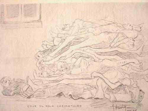 """Dessin d'Auguste Favier """"Dans cette cour, il y a eu jusqu'à 1 500 morts à pourrir au soleil"""""""
