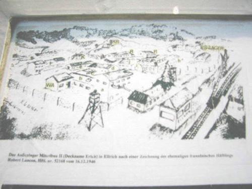 Plan du camp d'Ellrich montrant les divers bâtiments entourés de barbelés et surveillés par les miradors
