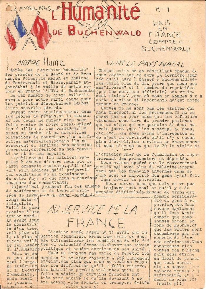 """Dès la Libération du camp, les militants communistes français déportés vont éditer quelques numéros d'une """"Humanité de Buchenwald"""", en référence au grand quotidien communiste. L'association dispose d'une collection de ces numéros dont quelques exemplaires ont été illustré à l'aquarelle par Boris Taslitsky."""