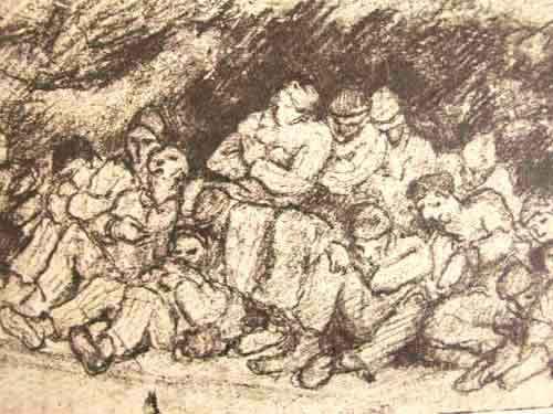 """Dessin de Léon Delarbre. """"Dans le tunnel. Répit au moment d'une attaque de la R.A.F. Dora, janvier 1945"""""""