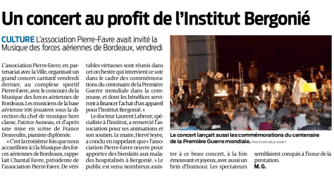 Article sud ouest concert armee air asso pierre favre 2018