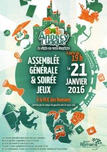 Jeudi 21 janvier 2016 : ASSEMBLÉE GÉNÉRALE + soirée jeux