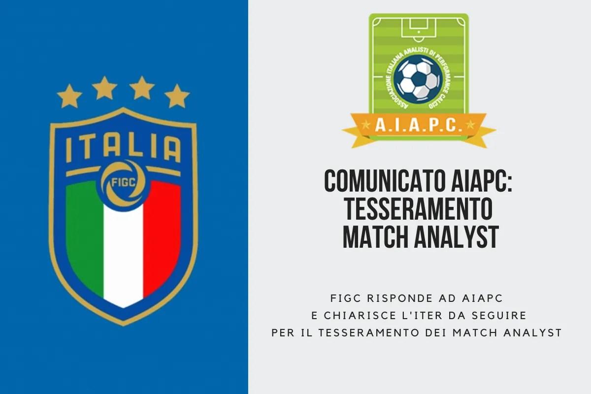 Comunicato AIAPC: FIGC chiarisce l'iter da seguire per effettuare il tesseramento dei Match Analyst