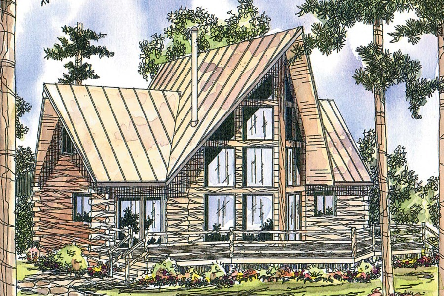 A Frame House Plans   Chinook 30 011   Associated Designs A Frame House Plan   Chinook 30 011   Front Elevation