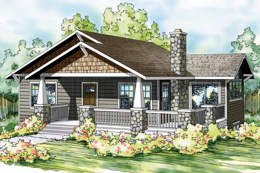 Narrow Lot House Plans   Narrow House Plans   House Plans for Narrow     Bungalow House Plan   Lone Rock 41 020   Front Elevation