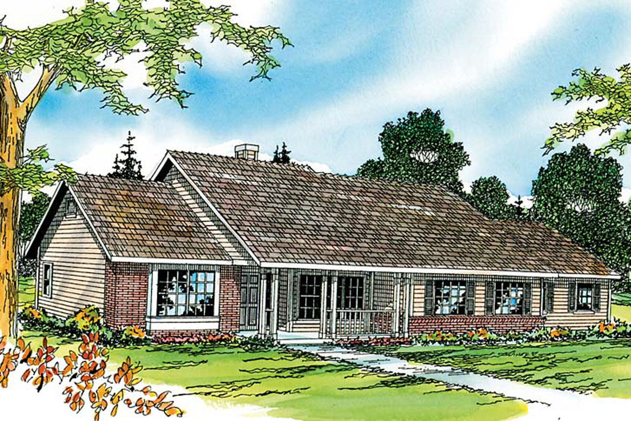 Ranch House Plans - Alpine 30-043 - Associated Designs on Back Deck Ideas For Ranch Style Homes  id=81525
