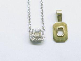custom emerald cut diamond pendant