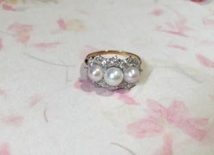 DR2661 Pearl & Diamond Ring, Platinum & 18K Yellow Gold
