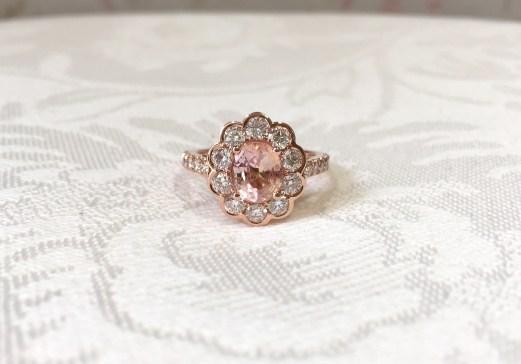 Rose Gold Diamond & Peach Sapphire Engagement Ring