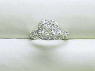 custom cushion shape halo diamond engagement ring