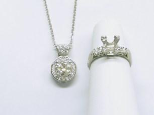 Custom 14K white gold halo diamond pendant