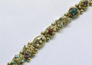 B 179 Estate Slide Charm Bracelet, 14K Yellow Gold