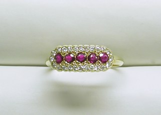dr-2312 Ruby & diamond band style ring, 14K yellow gold