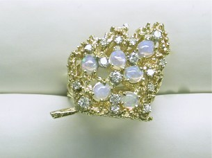 dr-2347 Opal & diamond leaf design ring,14K yellow gold