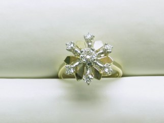 DR 2465 Diamond Cluster Vintage Ring,14K Yellow Gold