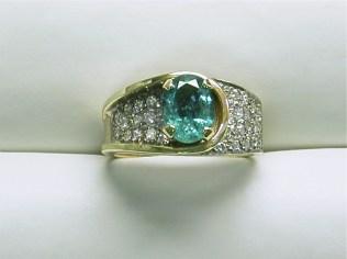 dr-2531 Emerald & pave set diamond ring,14K yellow gold
