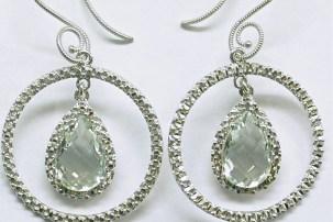 e-923b Mint Quartz hanging earrings in 14K white gold