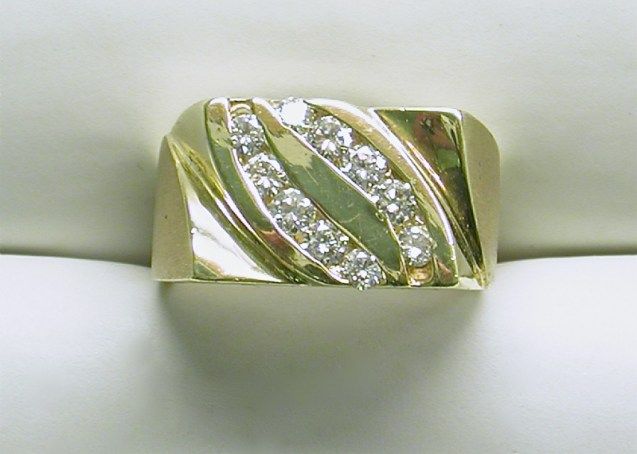 gd-2299 Mens all high polished 14K yellow gold diamond ring.