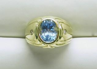 gd-2333 Blue Topaz & diamond mens ring, 14K yellow gold