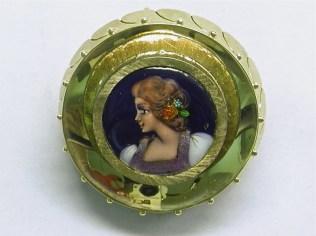 P 399 Enamel Portrait Pin, 14K Yellow Gold