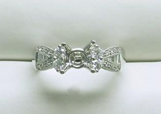 sb-2933 Tapered baguette & round stone platinum diamond engagement ring