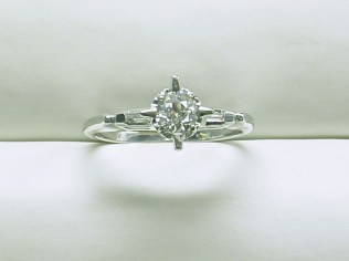 SB 3034 Vintage Engagement Ring,14K White Gold