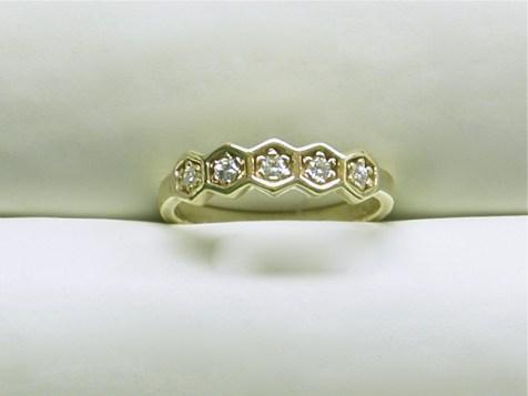 wb-1249 Diamond band with 5 round diamonds,14K yellow gold