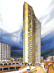 Artist's impression of the new Alpha Tower next to the new ATV studios on Broad Street in Birmingham