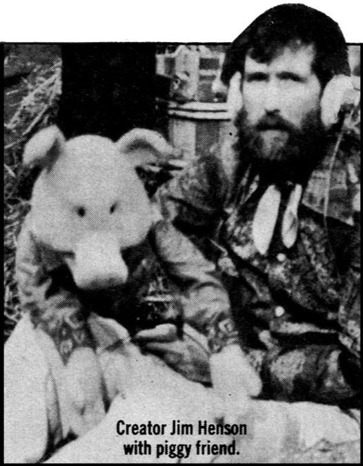 Creator Jim Henson with piggy friend.