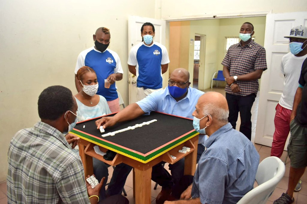Prime Minister of St Kitts and Nevis Dr. Timothy Harris has taken part in an exhibition Domino game