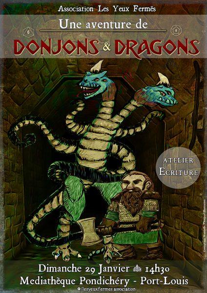 affiche-donjon-dragon-atelier-ecriture-yeux-fermes-port-louis