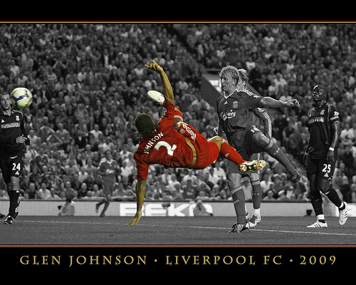 Glen Johnson scoring on his home debut; photo by Andy Coan