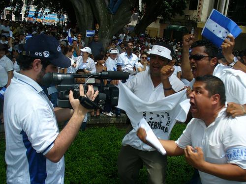 Honduran demonstrators; photo by egmb