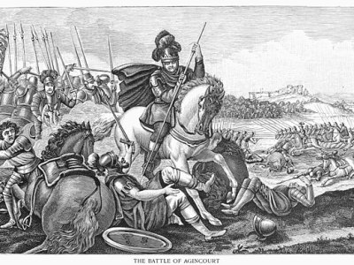 Battle of Agincourt, 1415. King Henry V of England at the Battle of Agincourt, France, 25 October 1415. Line engraving, 19th century.
