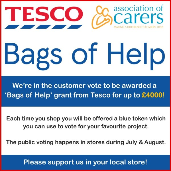 Association of Carers are in the local Tesco Bags of Help vote scheme