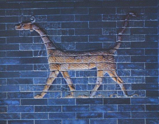 Particolare della porta di Istar - mattoni invetriati - Babilonia VII a.C.