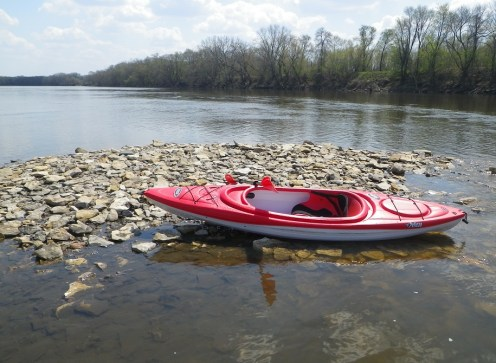 Taking a break on an accumulation of rocks in the middle of the river. (c) 2015 J.S. Reinitz