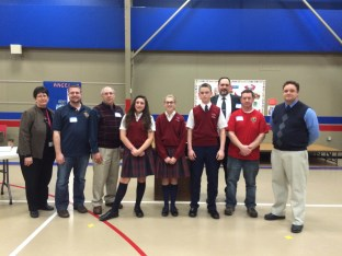 Pictured here: Ms. Bruni, principal; Doug Miedel, Recorder; John Walsh, PGK; Carly Zaccaria, 3rd place; Isabella Muchler, 1st place, Jack Stewart, 2nd place; Mike Walsh, DGK; Jim Cosgrove, GK; Mr. Safiodi, 8th Grade.