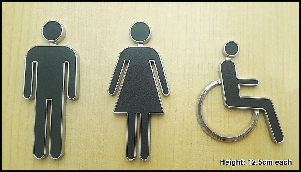 Self Adhesive 3D Toilet Signs