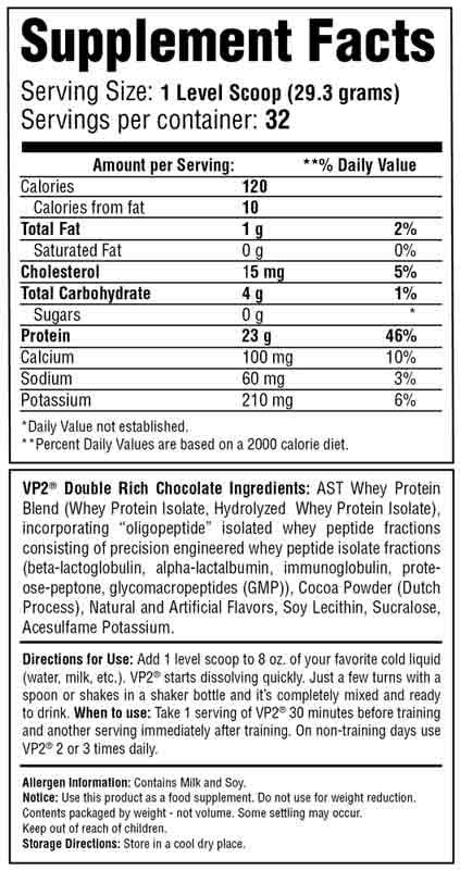 VP2 Whey Isolate Chocolate Supplement Facts