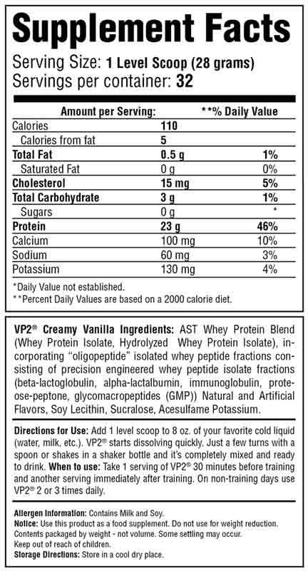 VP2 Whey Isolate Vanilla Supplement Facts