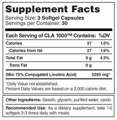 CLA-1000 Supplement Facts
