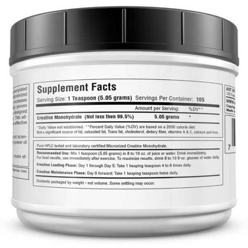 Micronized Creatine 530 Grams - Best Creatine - Supplement Facts