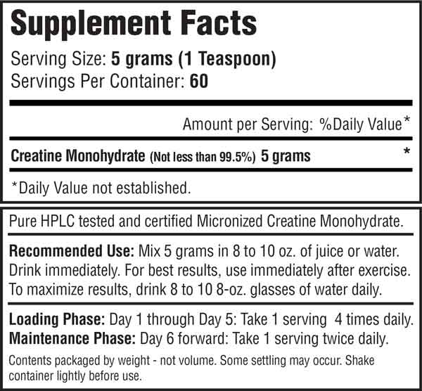 Micronized Creatine 300 Gram Supplement Facts